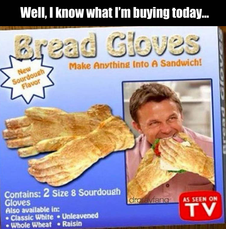 funny bread gloves
