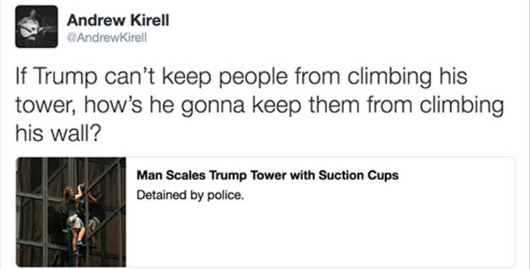 guy climbs Trump Tower