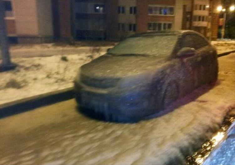 ice covered car