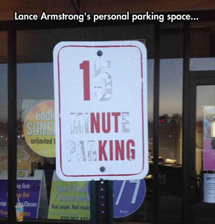 lance armstrong parking only
