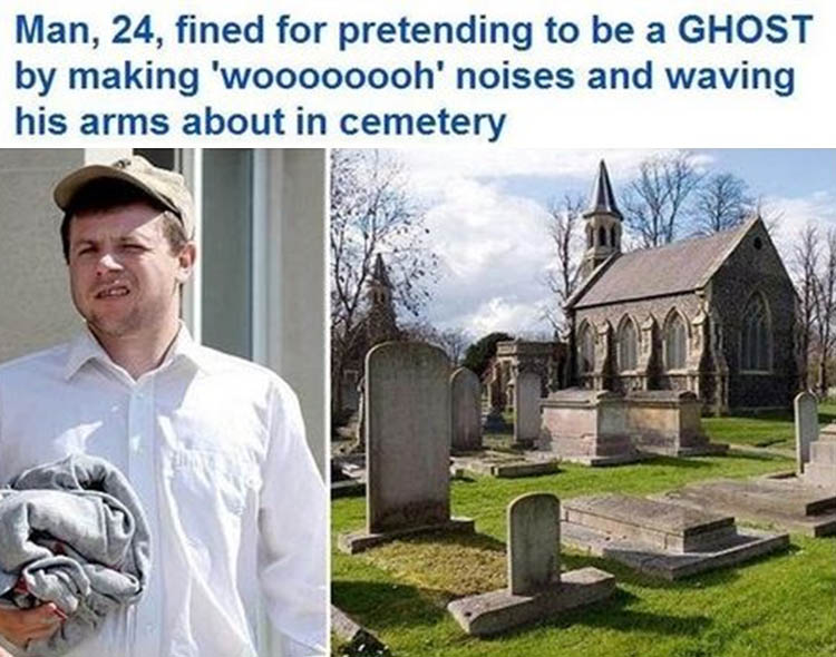 man fined in cemetary