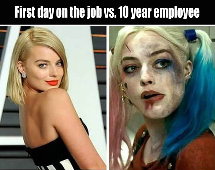 showing up for work on Monday vs leaving work on friday