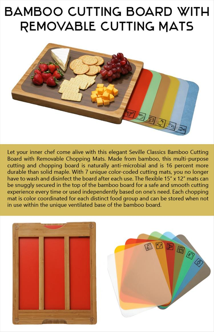 the Bamboo Cutting Board with Removable Cutting Mats