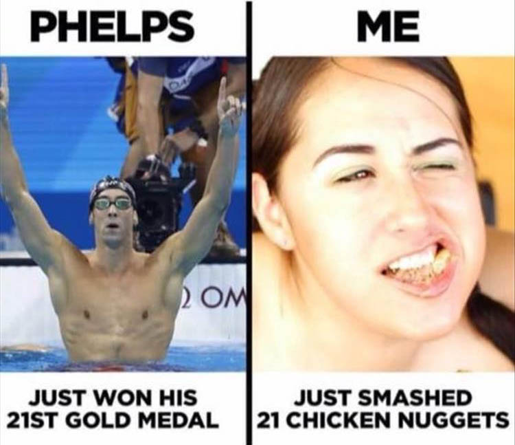the main difference between Michael Phelps and me