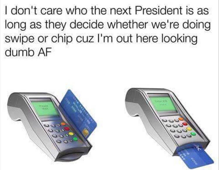 swipe the card or chip