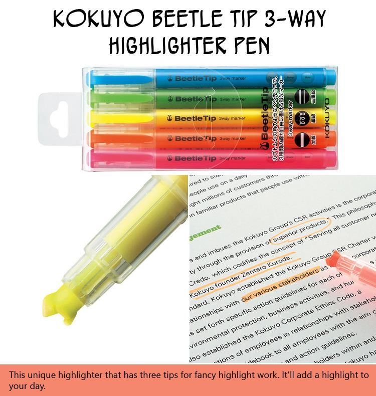 kokuyo-beetle-tip-3-way-highlighter-pen
