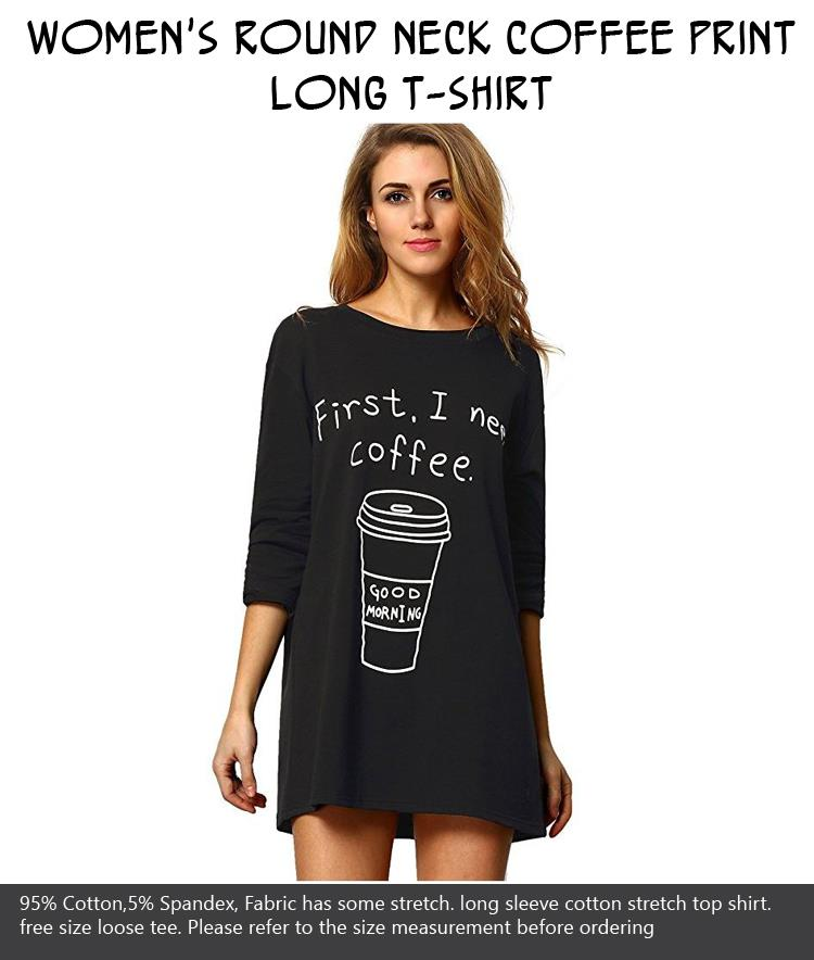 womens-round-neck-coffee-print-long-t-shirt