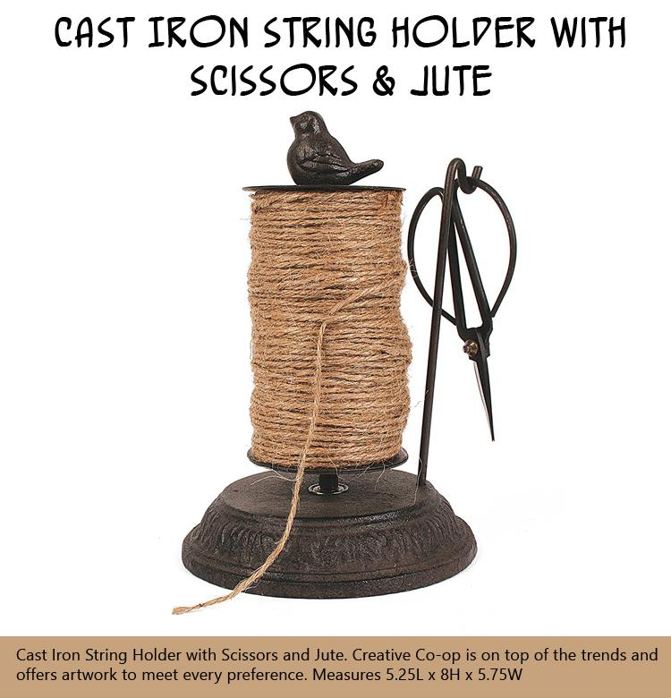 Cast Iron String Holder with Scissors & Jute