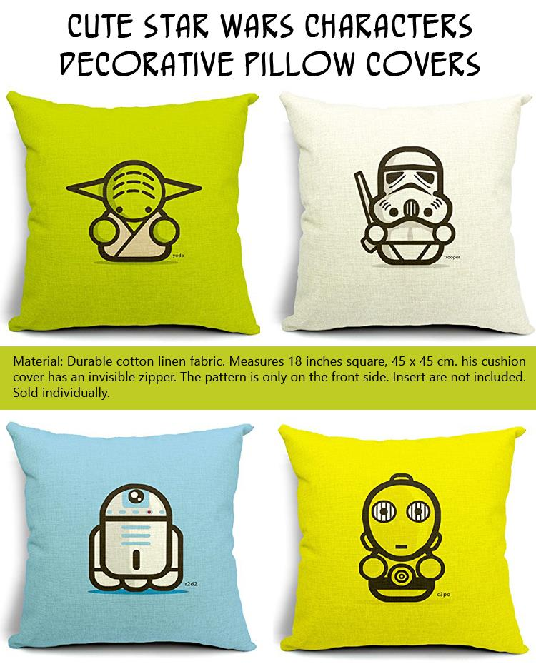 Cute Star Wars Characters Decorative Pillow Covers