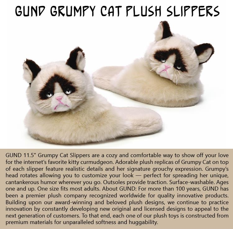 GUND Grumpy Cat Plush Slippers