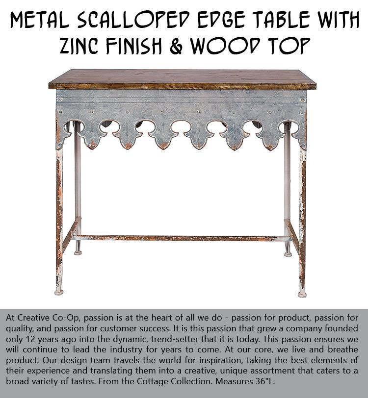 Metal Scalloped Edge Table with Zinc Finish and Wood Top