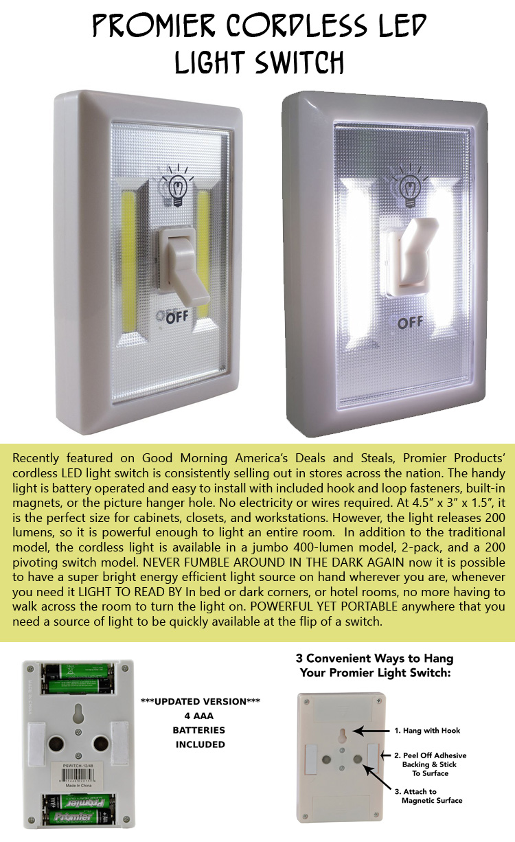 Promier cordless LED light switch