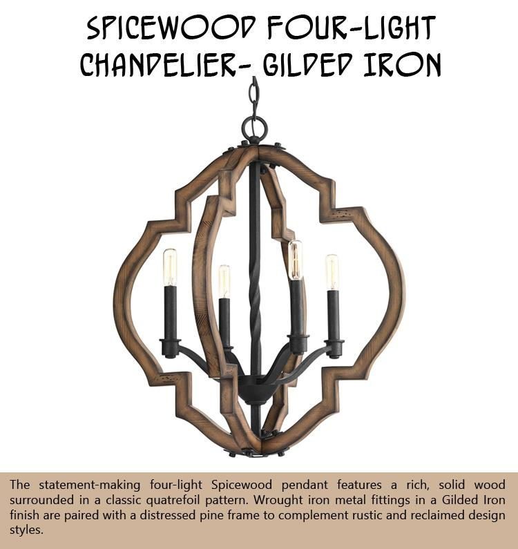 Spicewood Four-Light Chandelier- Gilded Iron