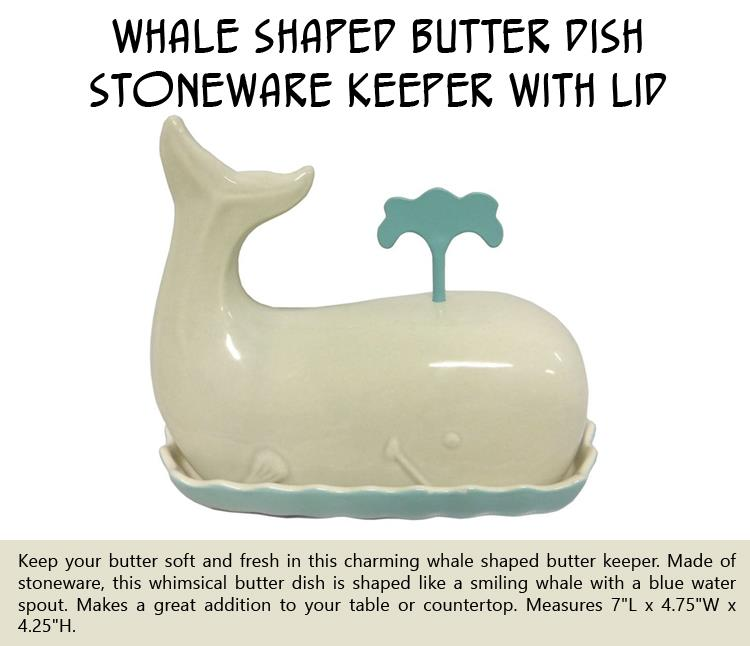 Whale Shaped Butter Dish Stoneware Keeper with Lid