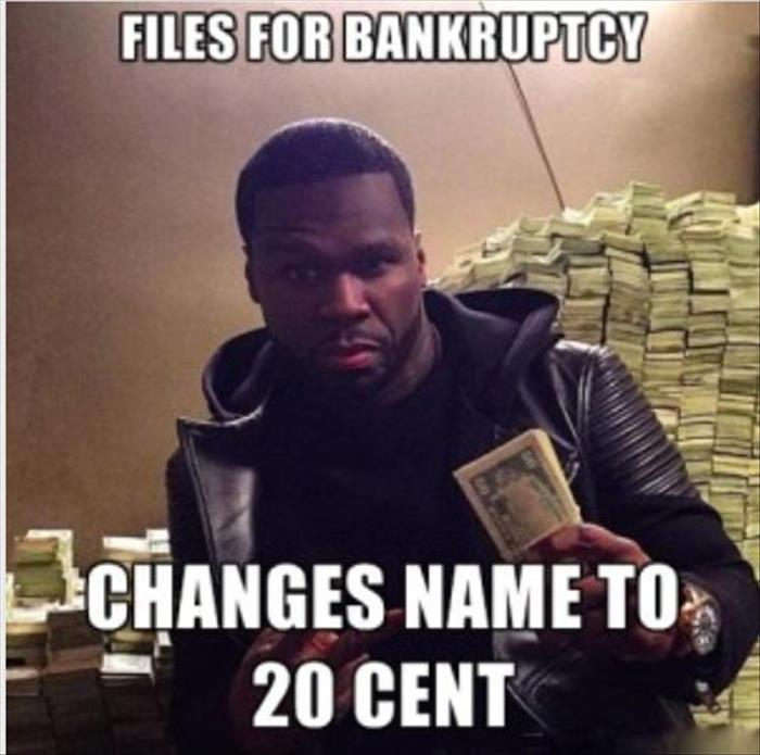 fifty cent files for bankrupcty