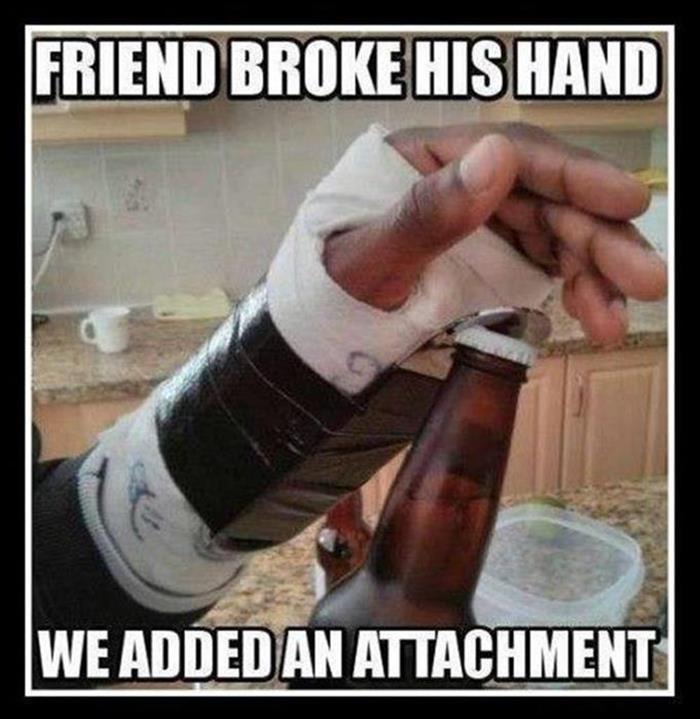 wearing a cast
