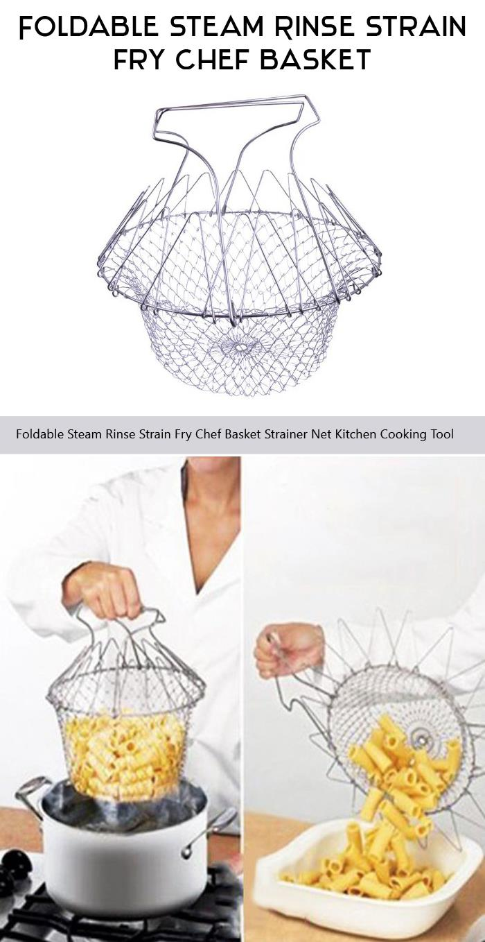 Foldable Steam Rinse Strain Fry Chef Basket