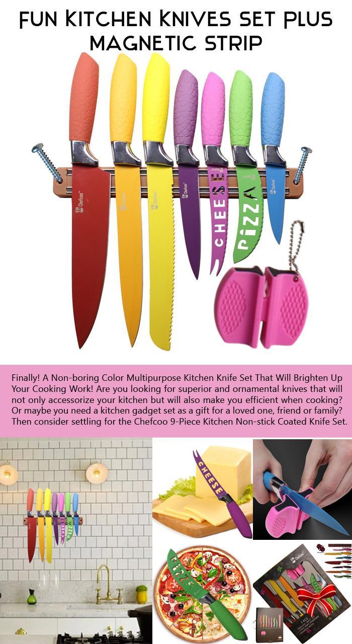 Fun Kitchen Knives Set Plus Magnetic Strip