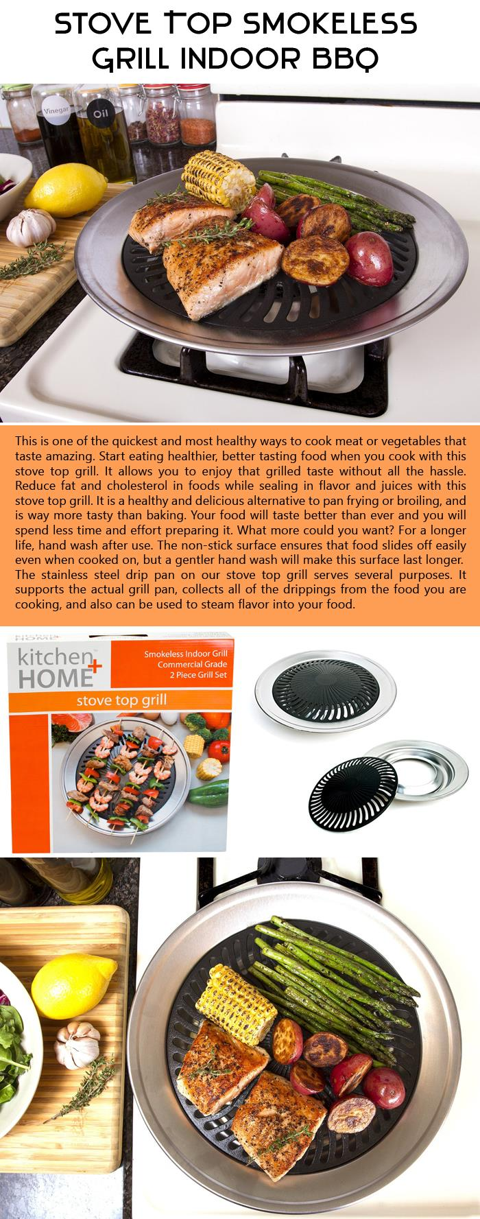 Stove Top Smokeless Grill Indoor BBQ